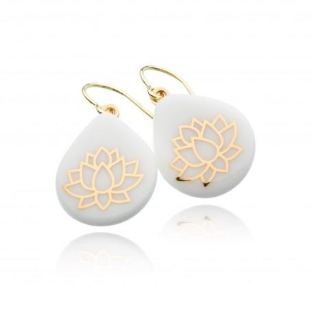 Ohrring Tropfenform Lotusblüte